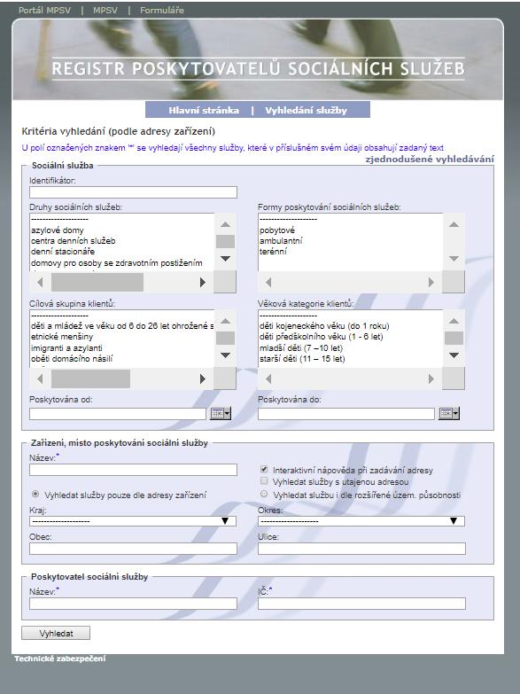Obrazovka rozšířeného vyhledávání v iRegistru