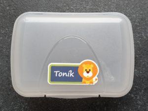 štítek na krabičce